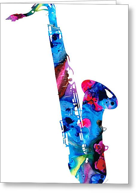 Prints For Sale Art Greeting Cards - Colorful Saxophone 2 by Sharon Cummings Greeting Card by Sharon Cummings