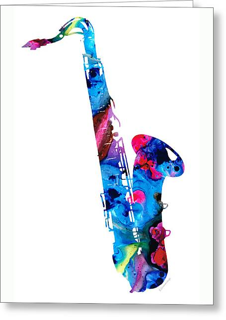 Instruments Mixed Media Greeting Cards - Colorful Saxophone 2 by Sharon Cummings Greeting Card by Sharon Cummings