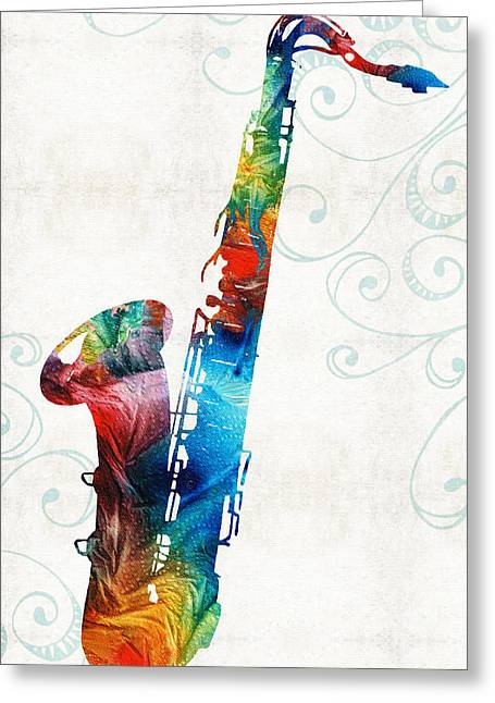 Night Club Greeting Cards - Colorful Saxophone 3 by Sharon Cummings Greeting Card by Sharon Cummings