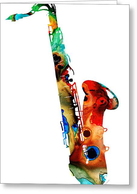 New York Night Greeting Cards - Colorful Saxophone by Sharon Cummings Greeting Card by Sharon Cummings