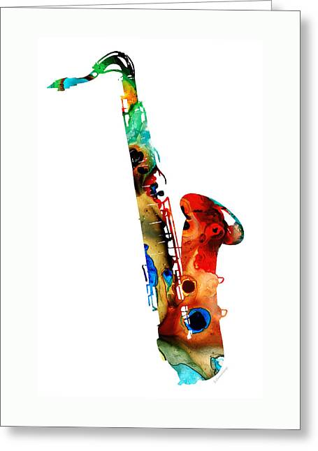 Sharon Cummings Greeting Cards - Colorful Saxophone by Sharon Cummings Greeting Card by Sharon Cummings