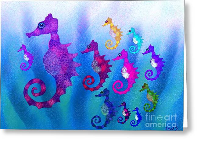 Sea Life Digital Greeting Cards - Colorful Sea Horses Greeting Card by Nick Gustafson