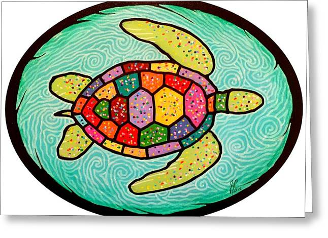 Jim Harris Greeting Cards - Colorful Sea Turtle Greeting Card by Jim Harris