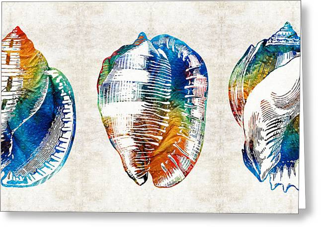 Perfection Greeting Cards - Colorful Seashell Art - Beach Trio - By Sharon Cummings Greeting Card by Sharon Cummings