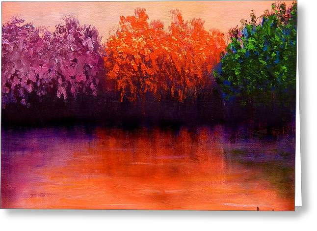 Reflection In Water Mixed Media Greeting Cards - Colorful Seasons Greeting Card by Lilia D