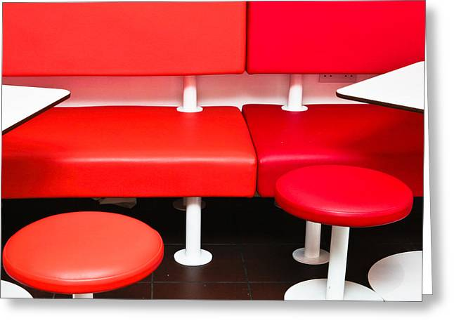 Unoccupied Greeting Cards - Colorful seats Greeting Card by Tom Gowanlock