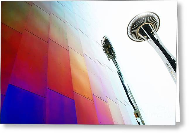 Space Needle Photographs Greeting Cards - Colorful Seattle Greeting Card by JR Photography