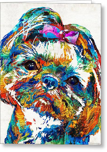 Happy Dogs Cute Dogs Greeting Cards - Colorful Shih Tzu Dog Art by Sharon Cummings Greeting Card by Sharon Cummings