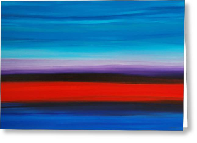 Corporate Business Greeting Cards - Colorful Shore - Abstract Art By Sharon Cummings Greeting Card by Sharon Cummings
