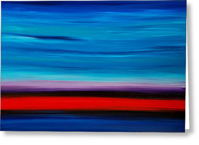 Colorful Shore - Blue And Red Abstract Painting Greeting Card by Sharon Cummings