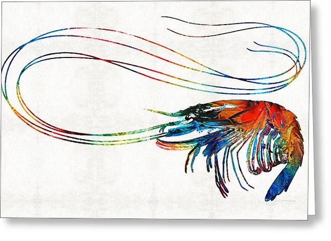 Beach House Paintings Greeting Cards - Colorful Shrimp Art by Sharon Cummings Greeting Card by Sharon Cummings