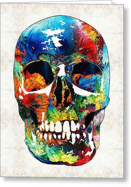 Macabre Greeting Cards - Colorful Skull Art - Aye Candy - By Sharon Cummings Greeting Card by Sharon Cummings