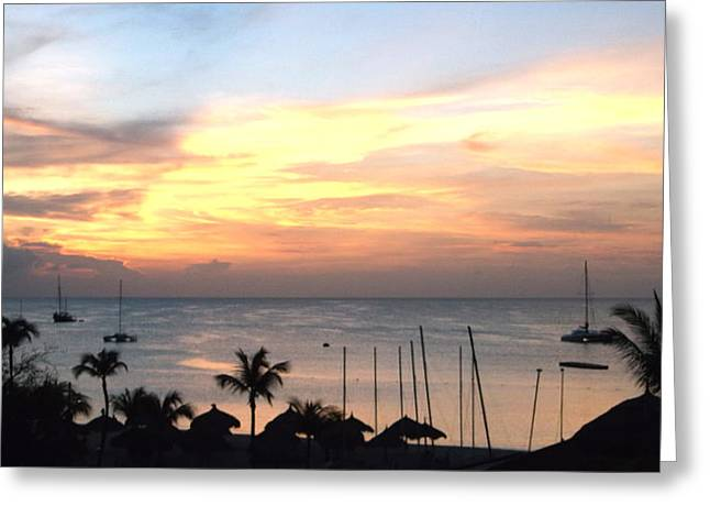 Zelma Hensel Greeting Cards - Colorful sky over Aruba Greeting Card by Zelma Hensel