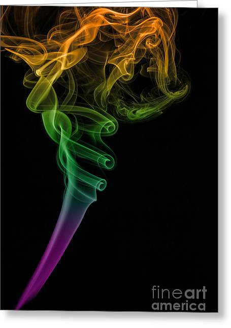 Incense Smoke Greeting Cards - Colorful smoke abstract on black Greeting Card by Vishwanath Bhat
