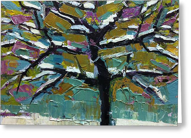 Snowed Trees Greeting Cards - Colorful Snow Greeting Card by Mary Medrano