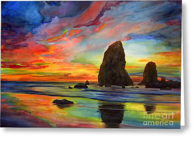 Cannon Beach Greeting Cards - Colorful Solitude Greeting Card by Hailey E Herrera