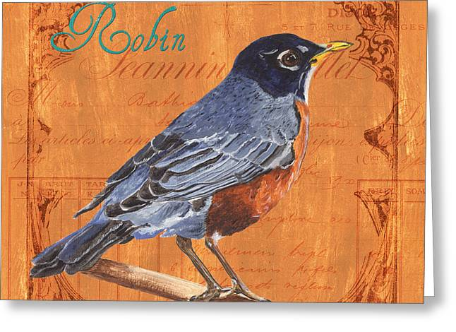 Natural Beauty Paintings Greeting Cards - Colorful Songbirds 2 Greeting Card by Debbie DeWitt