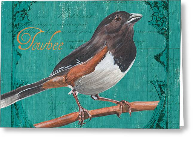 Natural Beauty Paintings Greeting Cards - Colorful Songbirds 3 Greeting Card by Debbie DeWitt
