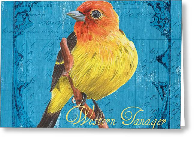 Natural Beauty Paintings Greeting Cards - Colorful Songbirds 4 Greeting Card by Debbie DeWitt