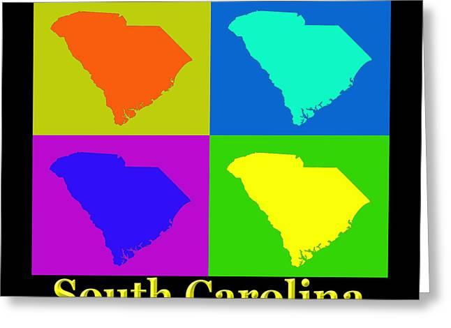 South Carolina Art Greeting Cards - Colorful South Carolina Pop Art Map Greeting Card by Keith Webber Jr