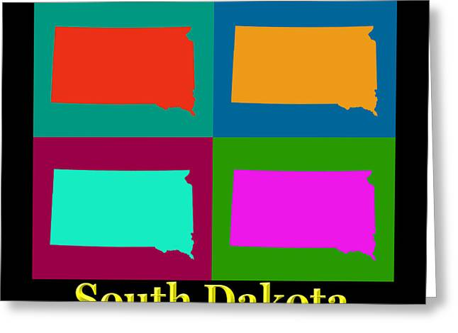 South Dakota Map Greeting Cards - Colorful South Dakota Pop Art Map Greeting Card by Keith Webber Jr