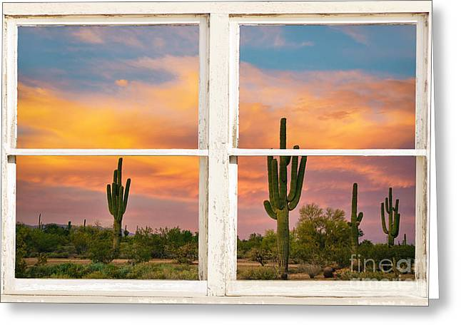 Phoenix Framed Prints Greeting Cards - Colorful Southwest Desert Rustic Window Art View Greeting Card by James BO  Insogna