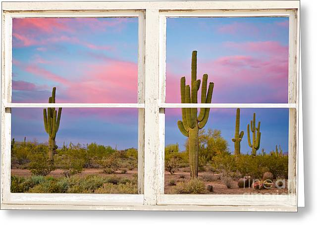 Phoenix Framed Prints Greeting Cards - Colorful Southwest Desert Window Art View Greeting Card by James BO  Insogna