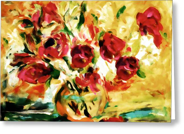 Flower Still Life Prints Greeting Cards - Colorful Spring Bouquet - Abstract  Greeting Card by Georgiana Romanovna