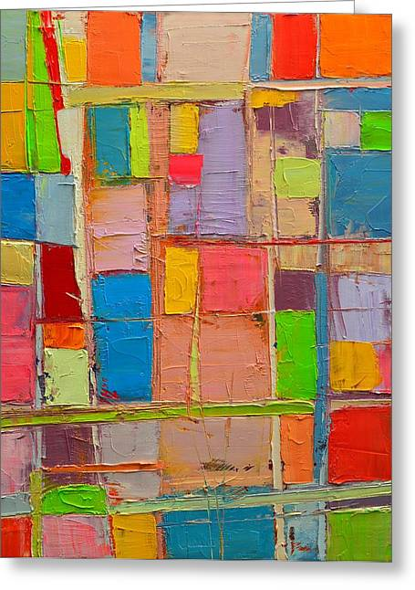 Muted Palette Greeting Cards - Colorful Spring Mood - Abstract Expressionist Composition Greeting Card by Ana Maria Edulescu