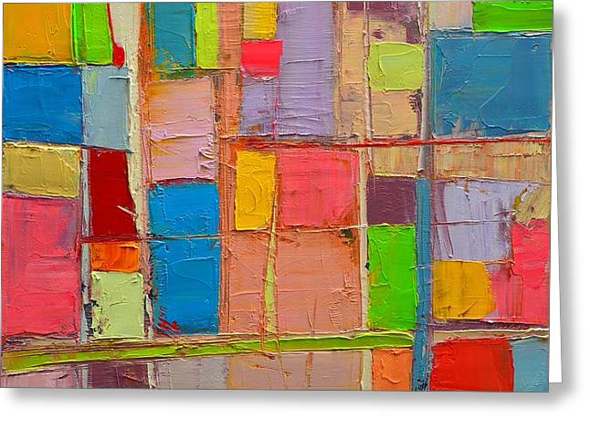 Colorful Spring Mood - Abstract Expressionist Composition Greeting Card by Ana Maria Edulescu
