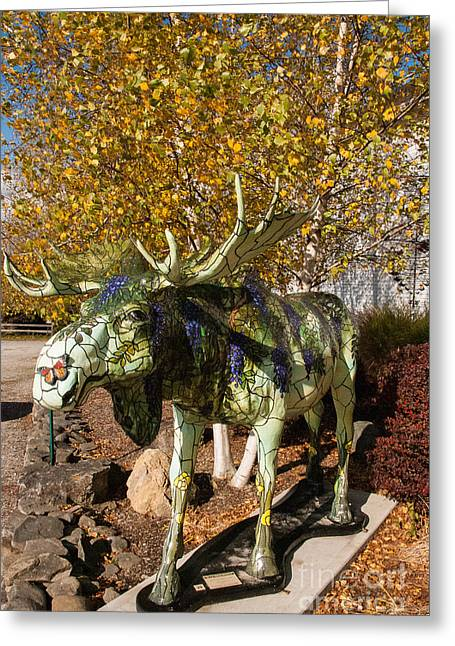 Covered Bridge Greeting Cards - Colorful Statue of Moose at Center for the Arts Bennington Vermont Greeting Card by Robert Ford