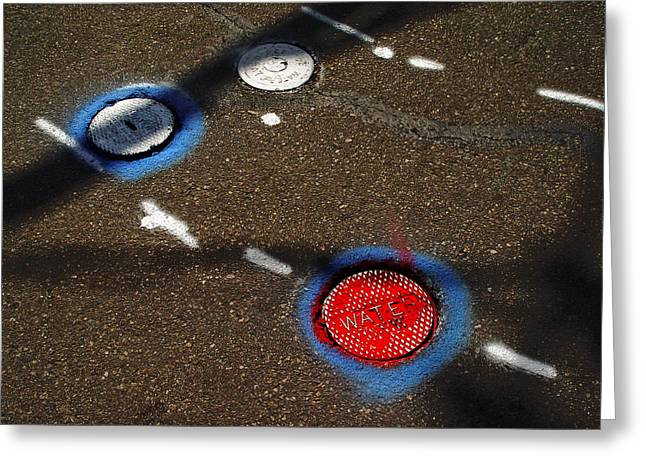 Manhole Greeting Cards - Colorful Storm Drain Covers And White Greeting Card by Panoramic Images