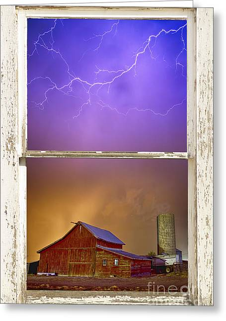 Lightning Gifts Greeting Cards - Colorful Storm Farm House Window View Greeting Card by James BO  Insogna