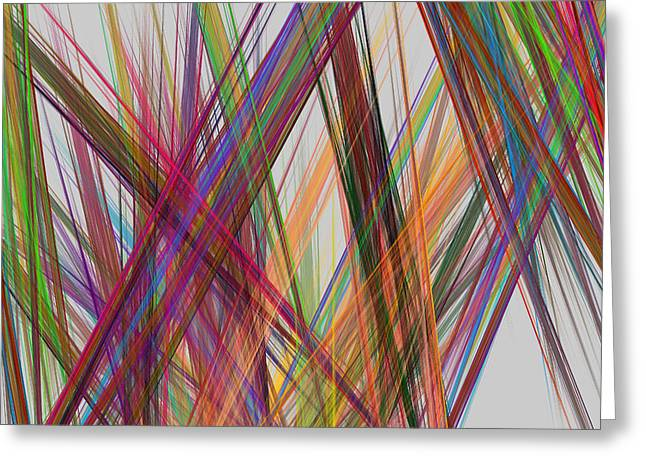 Straight Greeting Cards - Colorful Straight Line Fractal Flame Greeting Card by Keith Webber Jr
