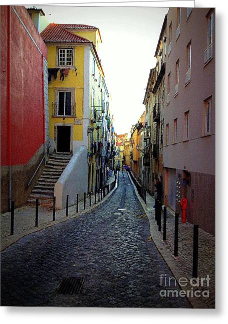 Most Favorite Photographs Greeting Cards - Colorful Street in Lisboa Greeting Card by Noa Yerushalmi
