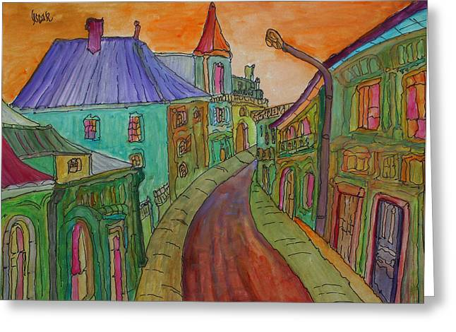 Prague Paintings Greeting Cards - Colorful Street Greeting Card by Oscar Penalber