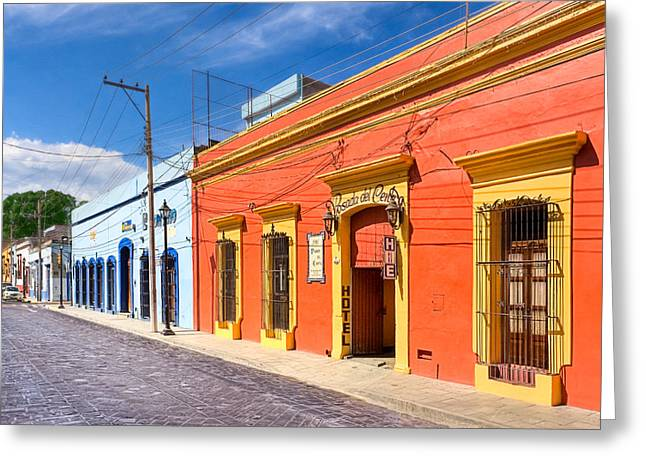 Oaxaca Greeting Cards - Colorful Streets of Colonial Oaxaca Greeting Card by Mark Tisdale