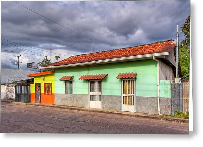 Gold Lime Green Photographs Greeting Cards - Colorful Streets of Costa Rica - Liberia Greeting Card by Mark Tisdale