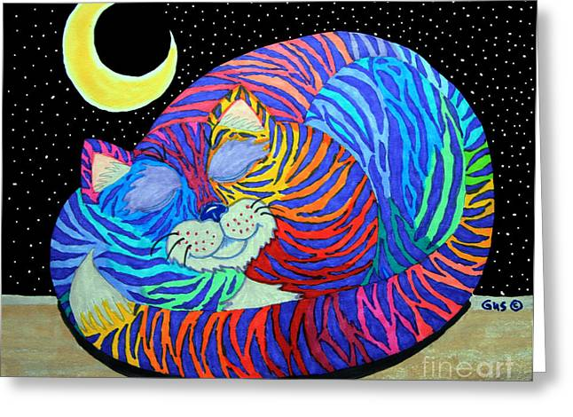 Magical Drawings Greeting Cards - Colorful Striped Cat in the Moonlight Greeting Card by Nick Gustafson