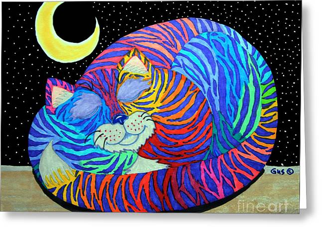Cat Drawings Greeting Cards - Colorful Striped Cat in the Moonlight Greeting Card by Nick Gustafson