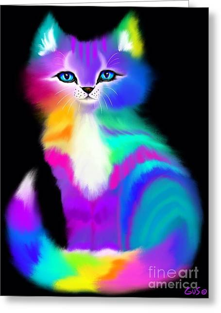 Colorful Image Greeting Cards - Colorful Striped Rainbow Cat Greeting Card by Nick Gustafson