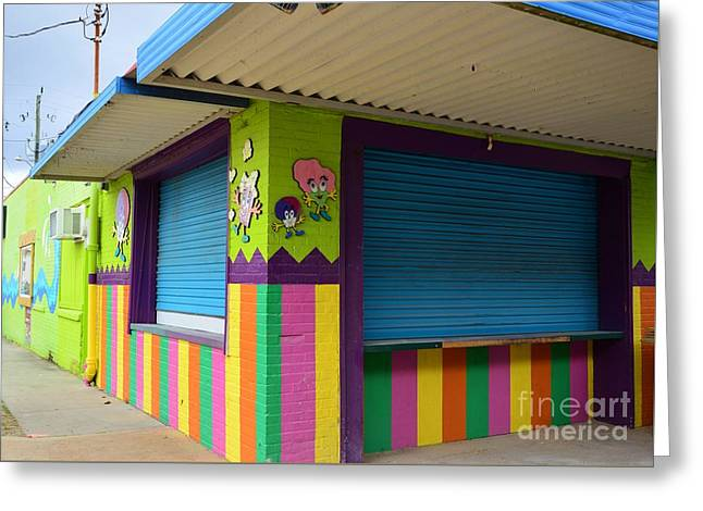 Store Fronts Greeting Cards - Colorful Stripes  Greeting Card by Bob Sample