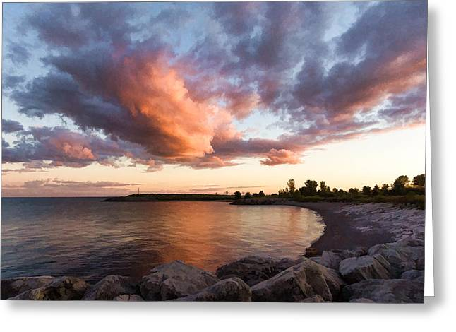 Gloaming Greeting Cards - Colorful Summer Sunset - Lake Ontario Impressions Greeting Card by Georgia Mizuleva