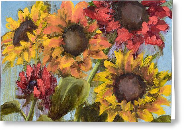 Mo Artist Paintings Greeting Cards - Colorful Sunflowers Greeting Card by Vic  Mastis