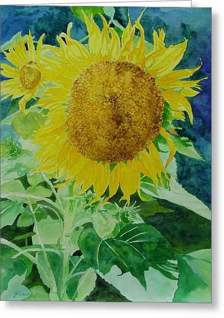 K Joann Russell Greeting Cards - Colorful Sunflowers Watercolor Original Sunflower Art Greeting Card by K Joann Russell