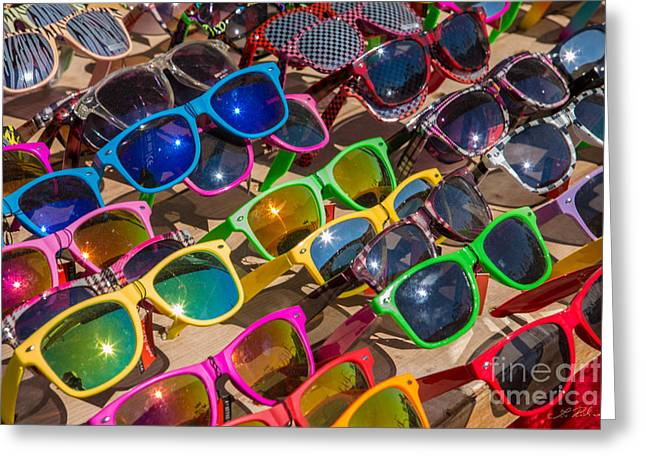 Colorful Sunglasses Greeting Card by Iris Richardson