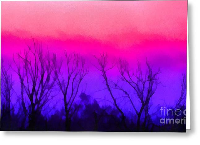 Foggy Beach Paintings Greeting Cards - Colorful Sunrise Greeting Card by Odon Czintos