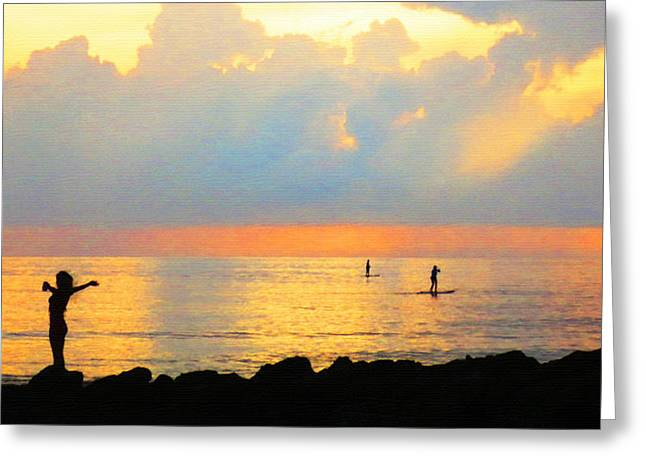 California Beach Greeting Cards - Colorful Sunset Art - Embracing Life - By Sharon Cummings Greeting Card by Sharon Cummings