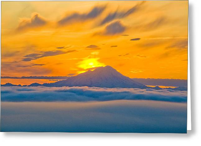Inversion Greeting Cards - Colorful Sunset Behind Mt. Redoubt And Greeting Card by Bill Scott