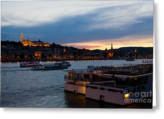 Hill Town Greeting Cards - Colorful Sunset in Budapest with a Panoramic view of the river D Greeting Card by Kiril Stanchev